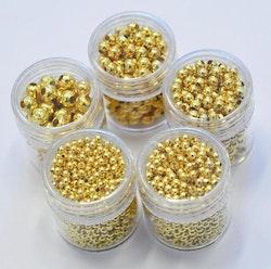 Set: Guldfärgade metallkulor, 5 askar