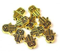 Antikt guldfärgad liten hamsa hand, 10 st