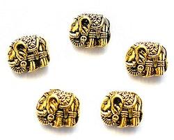 Antikt guldfärgad metallpärla elefant, 1 st