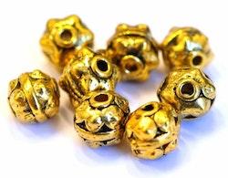 Antikt guldfärgade metallpärlor 10 mm, 10 st