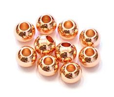 Roséfärgade metallpärlor 6 mm, ca 100 st