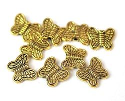 Antikt guldfärgade mellandelar fjärilar, 10 st