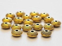 Antikt guldfärgade mellandelar platta 8 mm, 20 st