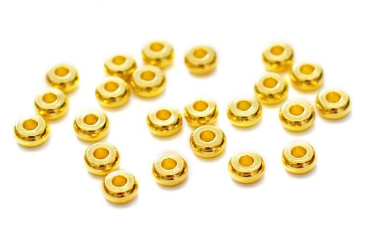 Guldfärgade minirondeller 4 mm, ca 100 st
