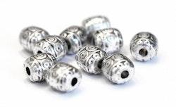 Antikfärgade små mönstrade tunnor 6 mm, 20 st