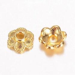 Guldfärgade pärlhattar blomma 6 mm, 20 st