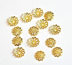 Guldfärgade pärlhattar 8 mm filigran, 50 st
