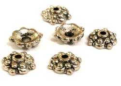 Antikfärgade pärlhattar 8 mm mönstrade, 20 st