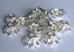 Silverfärgade pärlhattar 10 mm, ca 100 st