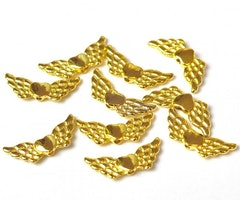 Guldfärgade änglavingar med hjärta, 10 st