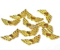 Guldfärgade änglavingar med hjärta, ca 100 st