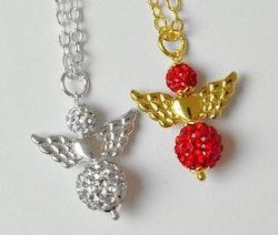 Silverfärgade änglavingar med hjärta, 10 st