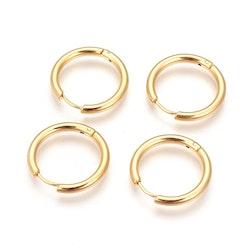 Guldfärgat rostfritt stål creoler 12 mm, 1 par