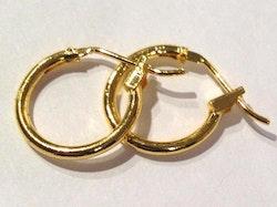 Guldfärgade creolringar 12 mm, 10 st