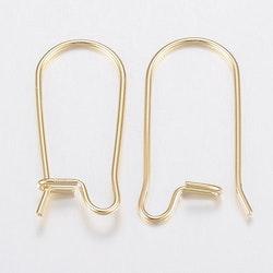 Guldfärgat rostfritt stål långa örkrokar, 10 st