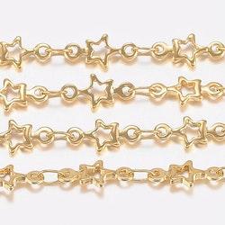 Guldfärgat rostfritt stål kedja med stjärnor, 1 m