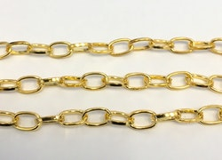 Guldfärgad kedja 6 mm avlånga öglor, 1 m