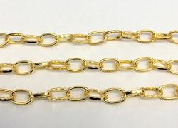 Guldfärgad kedja 6 mm avlånga öglor, 10 m