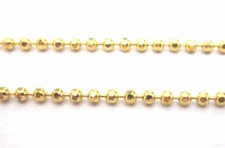 Guldfärgad facetterad kulkedja 1 mm, 1 m