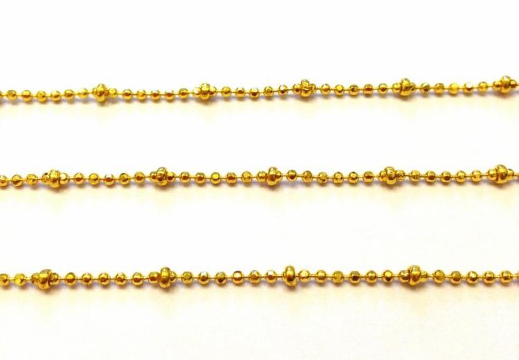 Guldfärgad facetterad kulkedja 1 mm med kulor, 1 m