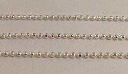 Silverfärgad facetterad kulkedja 1 mm, 1 m