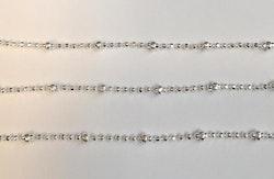 Silverfärgad facetterad kedja & kulor, 1 m