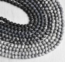 Mixade stenar: Grå/svart 6 mm