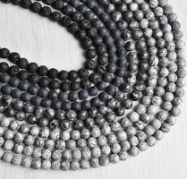 Mixade stenar: Grå/svart 8 mm, 10 strängar