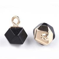 Guldfärgad facetterad berlock black stone, st