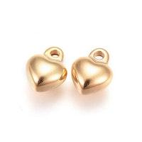 Guldfärgat rostfritt stål berlock hjärta, 1 st