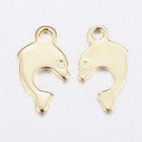 Guldfärgat rostfritt stål berlock delfin, 10 st