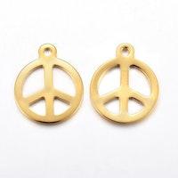 Guldfärgat rostfritt stål berlock peace, 1 st