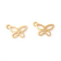 Guldfärgat rostfritt stål berlock fjäril, 10 st