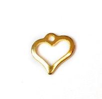 Guldfärgat rostfritt stål berlock siluetthjärta, 10 st