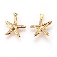 Guldfärgat rostfritt stål berlock sjöstjärna, 1 st