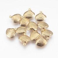 Guldfärgat rostfritt stål berlock snäcka, 1 st