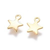 Guldfärgat rostfritt stål berlocker små stjärnor, 10 st