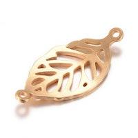 Guldfärgat rostfritt stål connector löv, 1 st