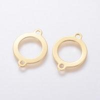 Guldfärgat rostfritt stål connector ring, 1 st