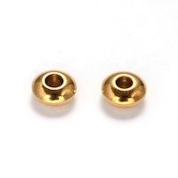 Guldfärgat rostfritt stål, slipade rondeller 6 mm, 10 st