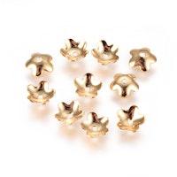 Guldfärgat rostfritt stål, pärlhattar blomma 5.5 mm, 10 st