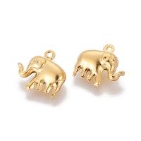 Guldfärgat rostfritt stål berlock elefant, 1 st