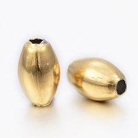 Guldfärgat rostfritt stål ovala pärlor, 10 st