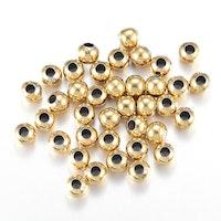 Guldfärgat rostfritt stål pärlor 4 mm, 20 st