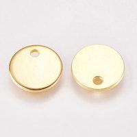 Guldfärgat rostfritt stål rund tag 15 mm, 1 st