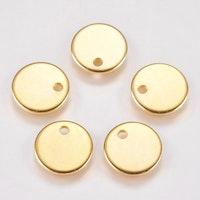 Guldfärgat rostfritt stål rund tag 10 mm, 1 st