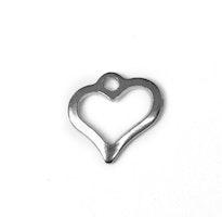 Rostfritt stål berlock siluetthjärta, 10 st