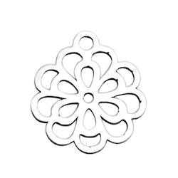 Rostfritt stål berlock rund blomma, 1 st
