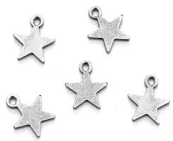 Rostfritt stål berlocker små stjärnor, 10 st