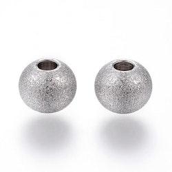 Rostfritt stål stardust pärla 8 mm antik, 1 st
